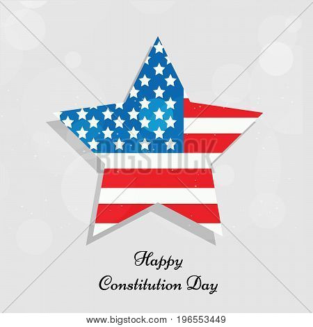 illustration of star in USA flag background with Happy Constitution Day text