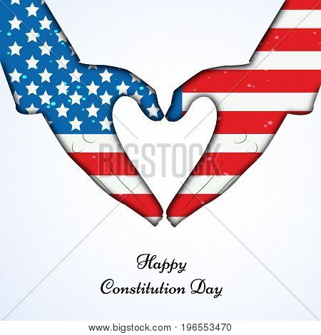 illustration of hands in USA flag background with Happy Constitution Day text