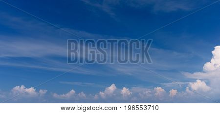 Panoramic blue sky and clouds for background