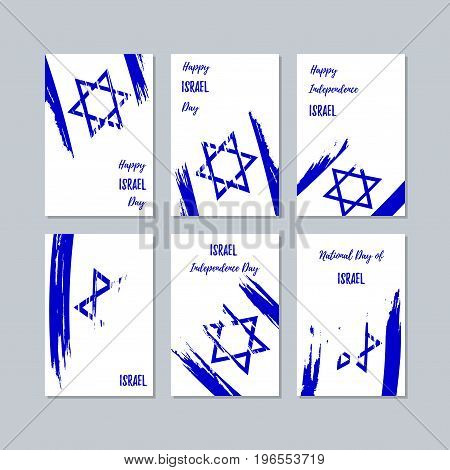 Israel Patriotic Cards For National Day. Expressive Brush Stroke In National Flag Colors On White Ca