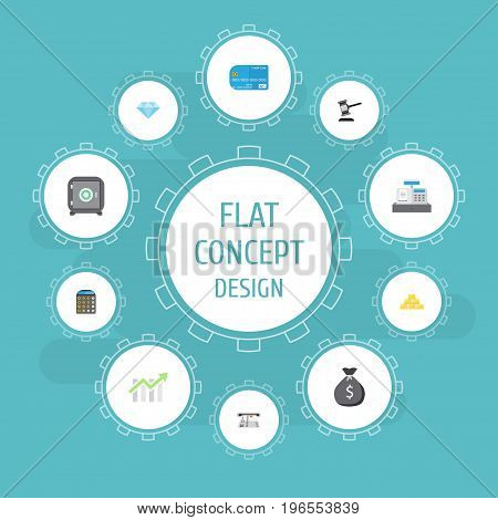Flat Icons Bar Diagram, Till, Payment And Other Vector Elements