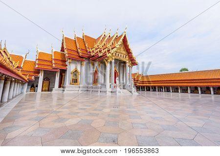 Bangkok , Thailand - 18 July, 2017: Wat Benchamabophit Dusitwanaram landmark in Bangkok, Thailand / Outside of Wat Benchamabophit Dusitwanaram