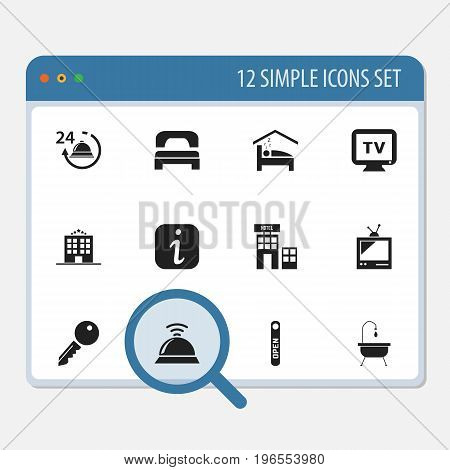 Set Of 12 Editable Motel Icons. Includes Symbols Such As Open Sign, Hotel, Service Bell And More