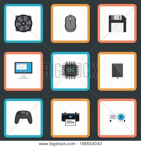 Flat Icons Display, Cooler, Microprocessor And Other Vector Elements