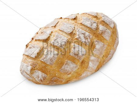 Baguette loaf isolated at white background. Fresh long loaf with checkered crust