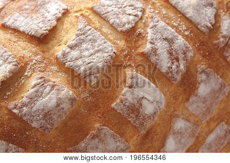 Bread texture crust closeup background, fresh checkered loaf