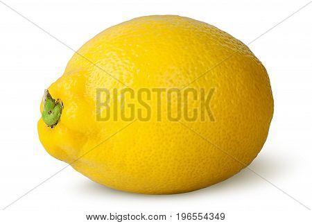 Ripe refreshing lemon turned isolated on white background
