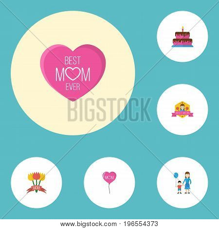 Happy Mother's Day Flat Icon Layout Design With Best Mother Ever, Emotion And Pastry Symbols