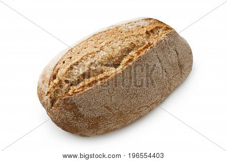 Rye bread loaf isolated. Fresh crusty bread at white background