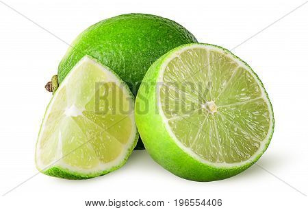Several pieces of lime isolated on white background