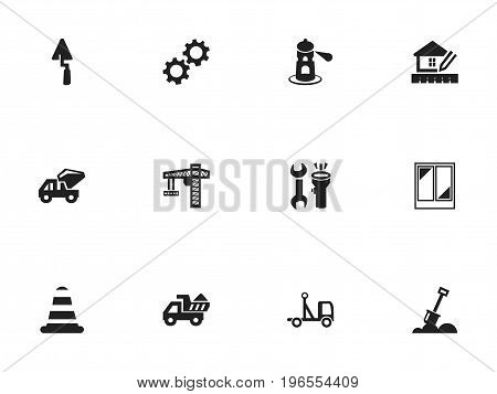 Set Of 12 Editable Construction Icons. Includes Symbols Such As Trowel, Warning Cone, Delivery And More