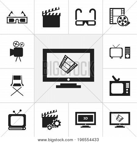 Set Of 12 Editable Movie Icons. Includes Symbols Such As Action, Retro Tv, Broadcast And More
