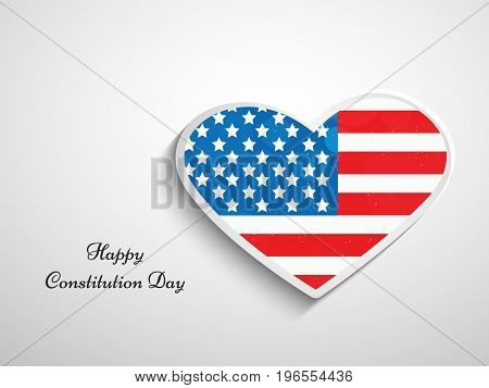 illustration of heart in USA flag background with Happy Constitution Day text