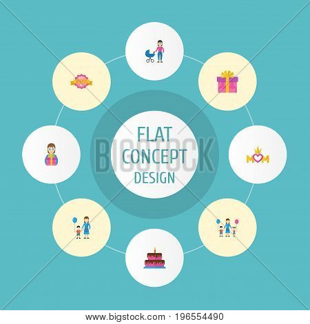 Happy Mother's Day Flat Icon Layout Design With Children, Gift To Mom And Queen Symbols