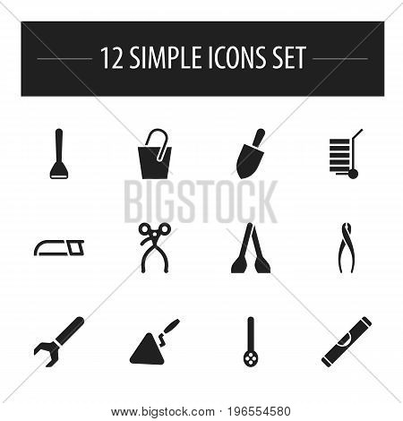 Set Of 12 Editable Instrument Icons. Includes Symbols Such As Skimmer, Hacksaw, Cuisine Utensil And More