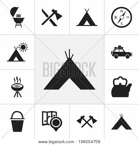 Set Of 12 Editable Camping Icons. Includes Symbols Such As Tabernacle, Voyage Car, Kebab And More