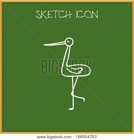 Vector Illustration Of Zoo Symbol On Stork Doodle