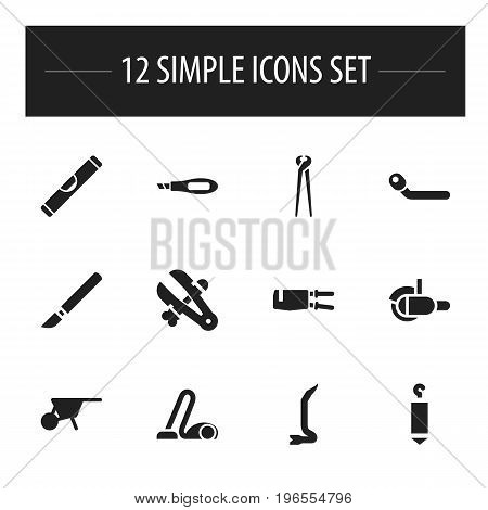 Set Of 12 Editable Equipment Icons. Includes Symbols Such As Scale, Circle Spanner, Elevation And More