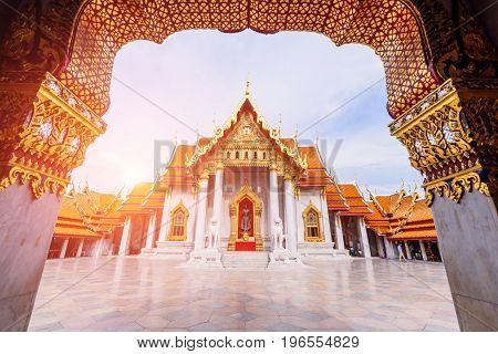 Bangkok , Thailand - 18 July, 2017: Wat Benchamabophit Dusitwanaram landmark in Bangkok with sunlight / Outside of Wat Benchamabophit Dusitwanaram