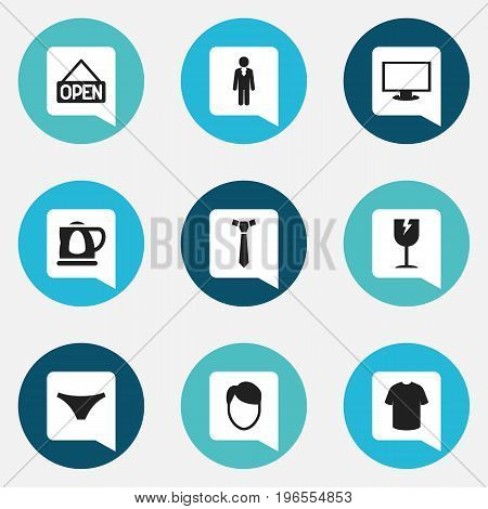 Set Of 9 Editable Business Icons. Includes Symbols Such As Male Aspect, Cracked Mug, Boy Blouse And More