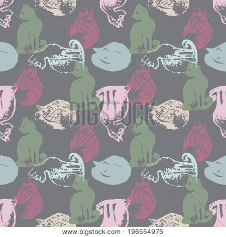 Seamless pattern with cat stamps. Sloppy strokes of a paint. Template for wrapping paper of textile print.