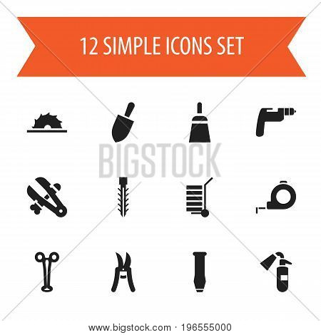 Set Of 12 Editable Tools Icons. Includes Symbols Such As Sawblade, Pruning Shears, Vice And More