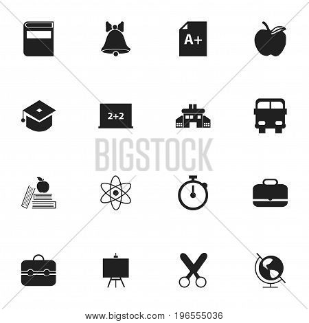 Set Of 16 Editable Education Icons. Includes Symbols Such As Transport Vehicle, Textbook, Trunk And More