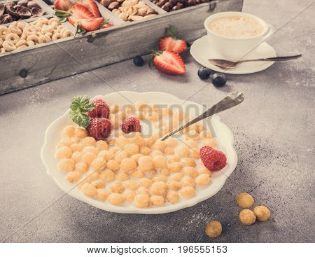 Healthy breakfast with cereal balls, fresh milk and berries, selective focus. Retro style toned.