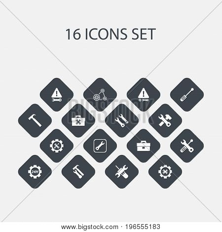 Set Of 16 Editable Tool Icons. Includes Symbols Such As Cambelt, Build Equipment, Reconstruction And More