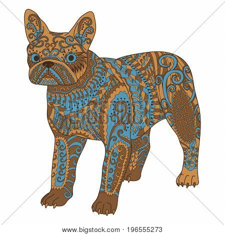 High detail patterned french bulldog in zentangle style. Zentangle template for t-shirt, tattoo, poster or logo. Vector illustration.