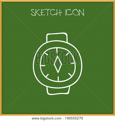 Vector Illustration Of Travel Symbol On Watch Doodle