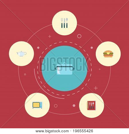 Flat Icons Casserole, Silverware, Cooking Notebook And Other Vector Elements