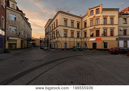 Vintage houses on the street in old town of Gliwice Poland Europe.