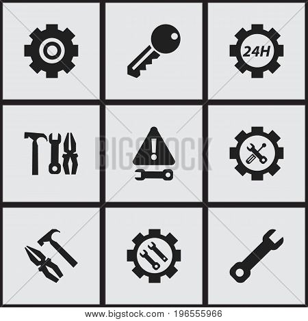 Set Of 9 Editable Mechanic Icons. Includes Symbols Such As Screwdriver Wrench, Wrench, Support Center And More