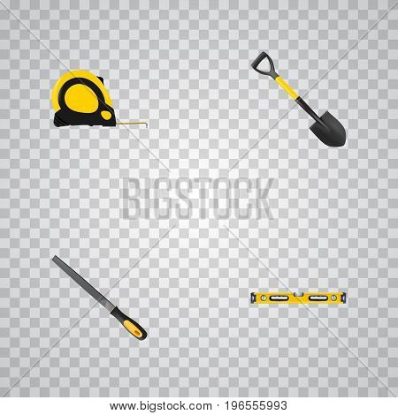 Realistic Plumb Ruler, Spade, Sharpener And Other Vector Elements