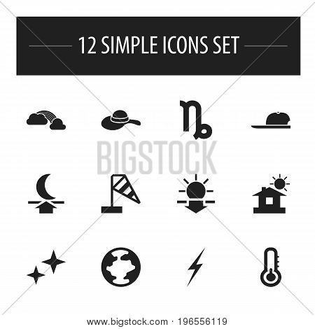Set Of 12 Editable Climate Icons. Includes Symbols Such As Bolt, Hat, House And More