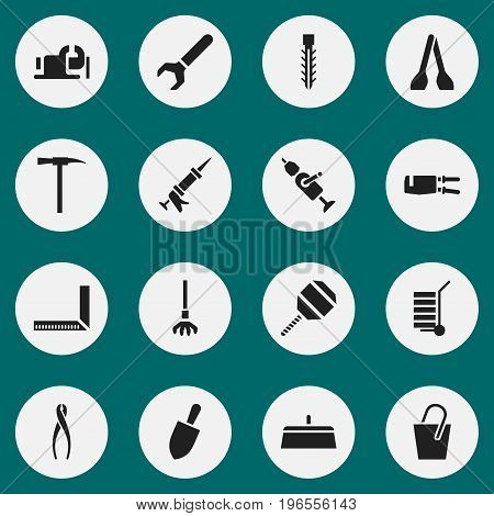 Set Of 16 Editable Instrument Icons. Includes Symbols Such As Pipe Wrench, Sealant, Tongs And More