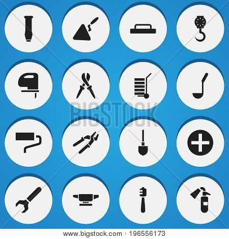 Set Of 16 Editable Tools Icons. Includes Symbols Such As Screw Wrench, Press Instrument, Pliers And More