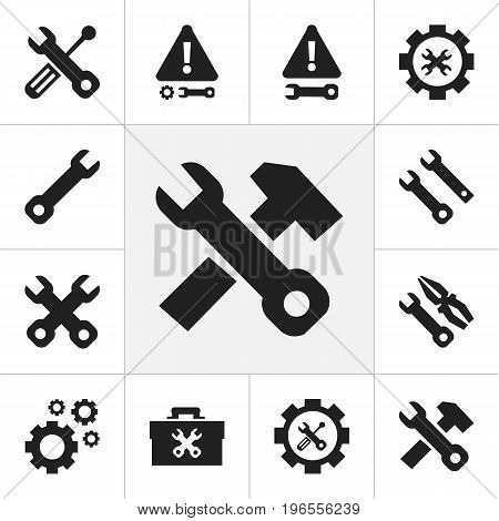 Set Of 12 Editable Tool Icons. Includes Symbols Such As Instrument, Build Equipment, Screwdriver Wrench And More
