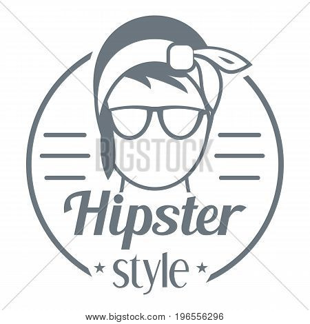 Hipster style logo. Simple illustration of hipster style vector logo for web design