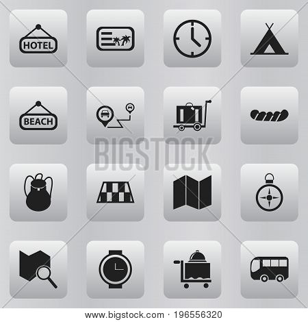 Set Of 16 Editable Holiday Icons. Includes Symbols Such As Watch, Position Search, Invitation And More