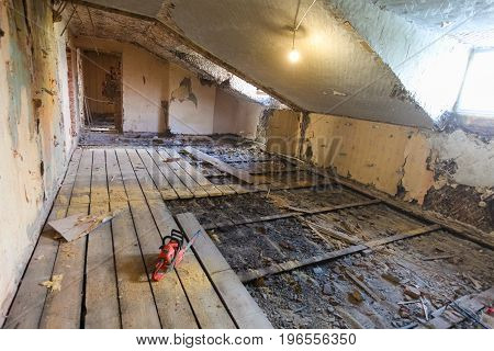 Interior of apartment during on the renovation and construction. Chainsaw on partially dismantled wooden floor and sawdust