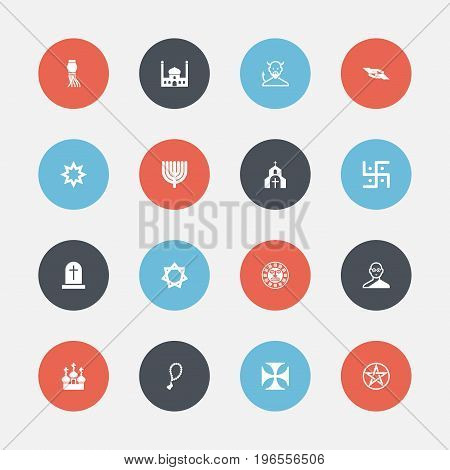 Set Of 16 Editable Religion Icons. Includes Symbols Such As Religious Sign, Asterisk, Hanukkah And More
