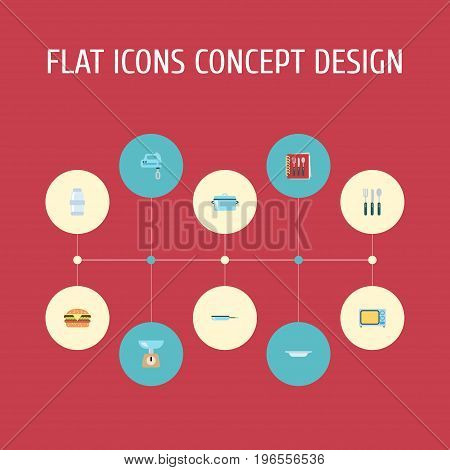 Flat Icons Cooking Notebook, Silverware, Skillet And Other Vector Elements