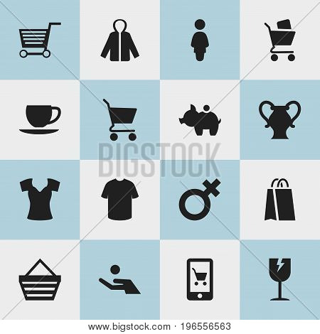 Set Of 16 Editable Trade Icons. Includes Symbols Such As Cracked Mug, Shopping Bag, Vest And More