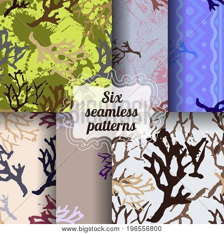 Set of botanic seamless patterns. Colorful backgrounds with branch imprints.Collection of tile textures with stamps of the nature objects. Template for wrapping, textile. poster print. Vector