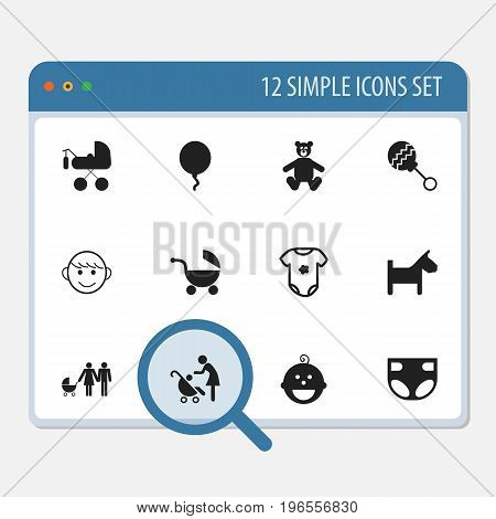 Set Of 12 Editable Baby Icons. Includes Symbols Such As Puppy, Stroller, Decoration And More