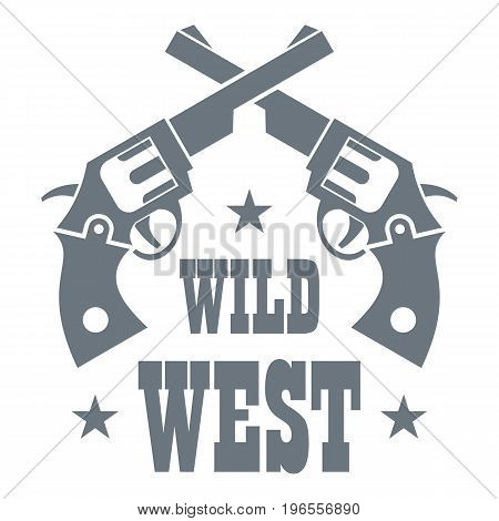 Wild west revolver logo. Simple illustration of wild west revolver vector logo for web design