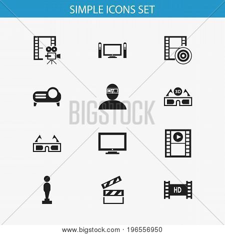 Set Of 12 Editable Filming Icons. Includes Symbols Such As Hd Tape, Photography, Cinematography And More