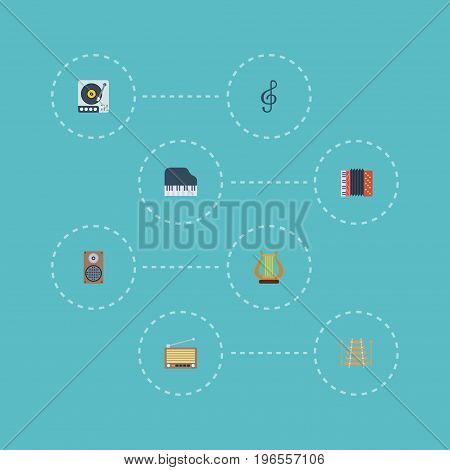 Flat Icons Quaver, Lyre, Turntable And Other Vector Elements